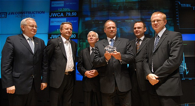Uroczystość pierwszego notowania akcji spółki J.W. Construction Holding S.A.